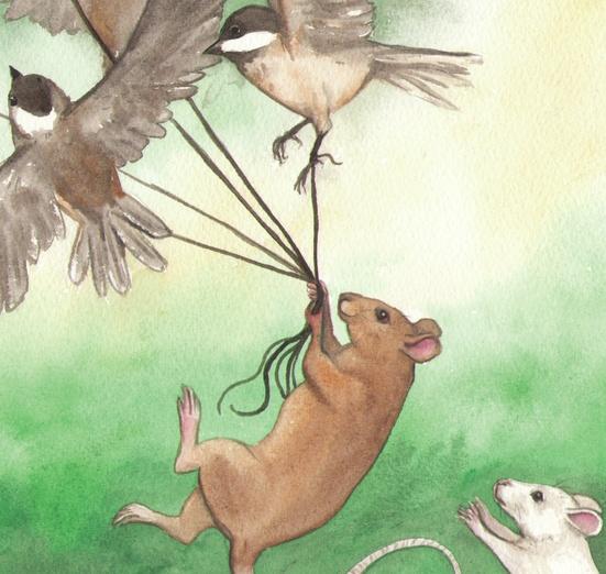 A brown rat is taking a flock of chickadees for a walk. - adorable, animal, bird, birds, brown, cartoon, cartoony