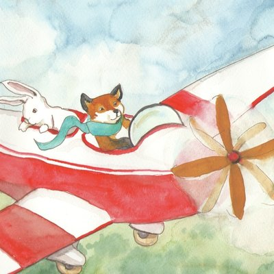 Fox flying