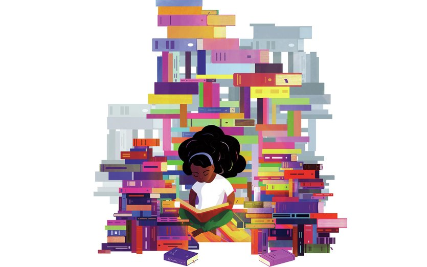 - adventure, book, bookworm, girl, library, peace, pile