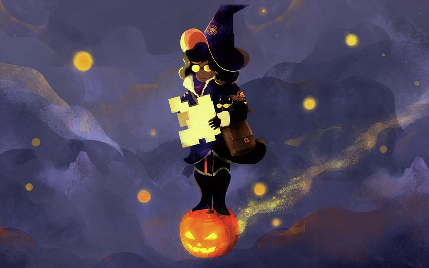 A new project, Pumpkin Patrol! This brave Witch charts the night skies.  - adventure, cat, explore, fly, halloween, magic, night