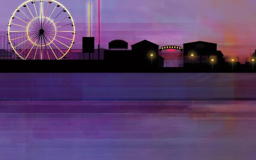 - amusements, beach, black, break, buildings, coast, colored