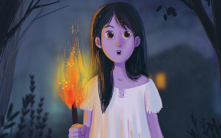 - adventure, creepy, dark, fire, forest, girl, horror