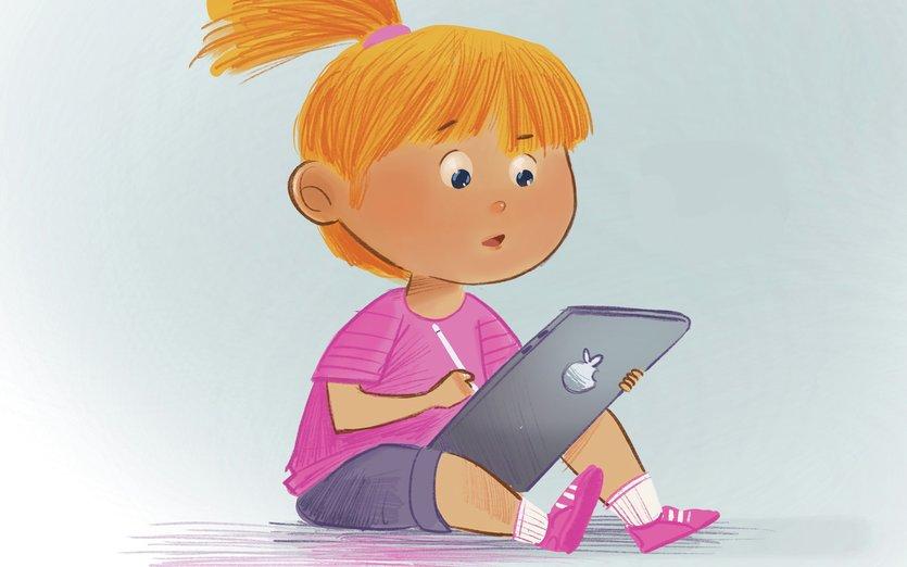 - draw, fun, girl, little, pencil, tablet