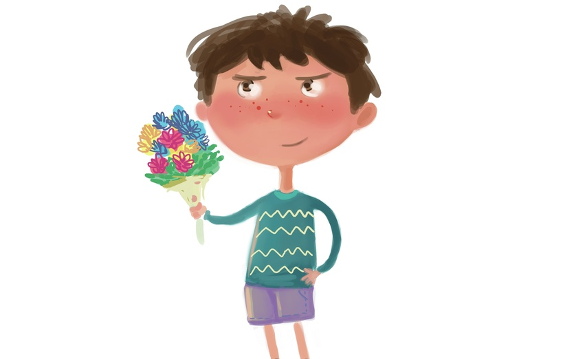 - adorable, adorbs, bouquet, boy, brown, cartoon, cartoony