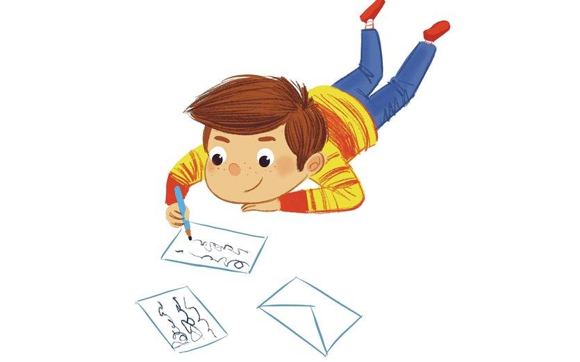 - boy, fun, mail, message, write, writing