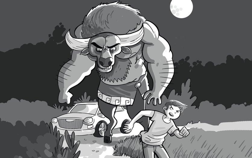 - boy, escape, horro, minotaur, run, scare