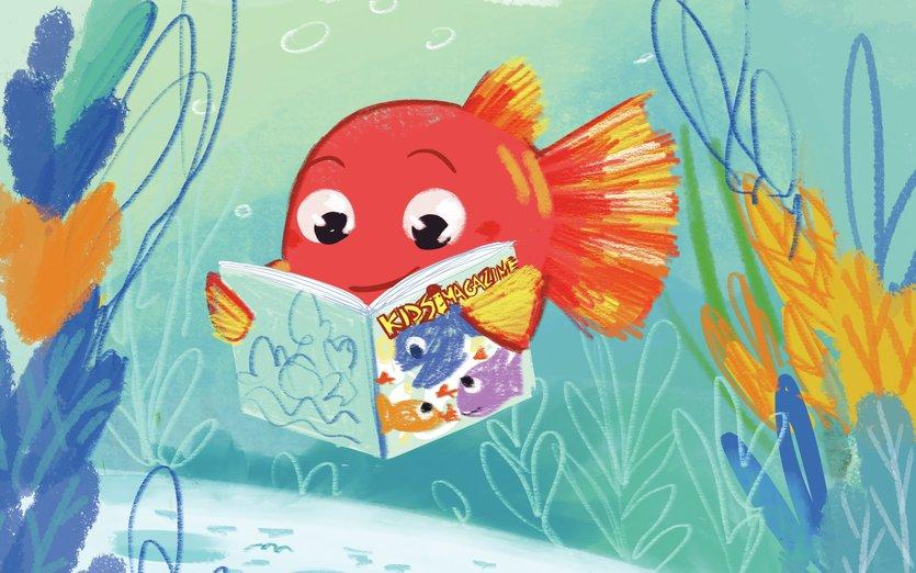 - book, fish, magazine, read, reading, redfish, sea