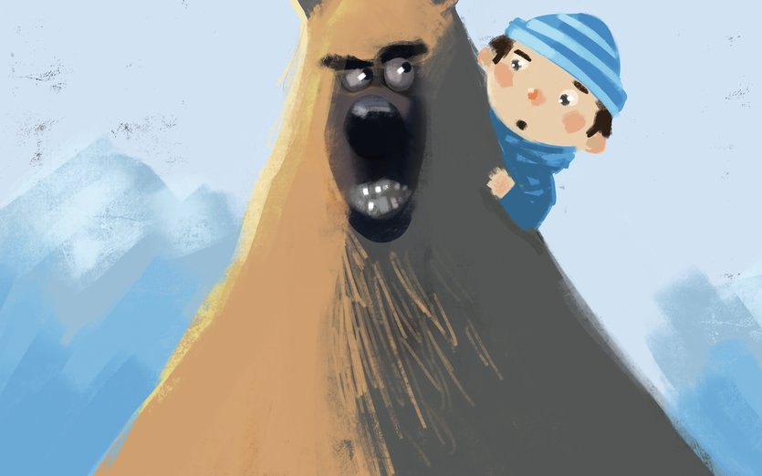 - animal, bear, boy, cartoon, cold, friend, fun