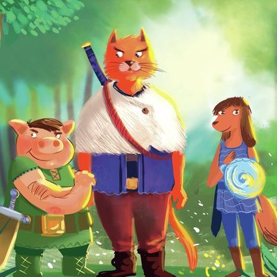 cat, dog and pig in a fantasy word