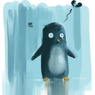 penguin unhappy