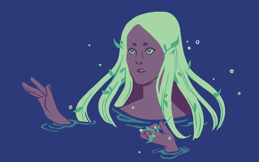 - girl, glow, magical, mermaid, night, water