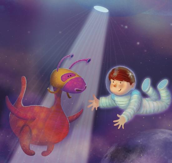 - adorable, alien, astronaut, blue, cartoon, cartoony, colored