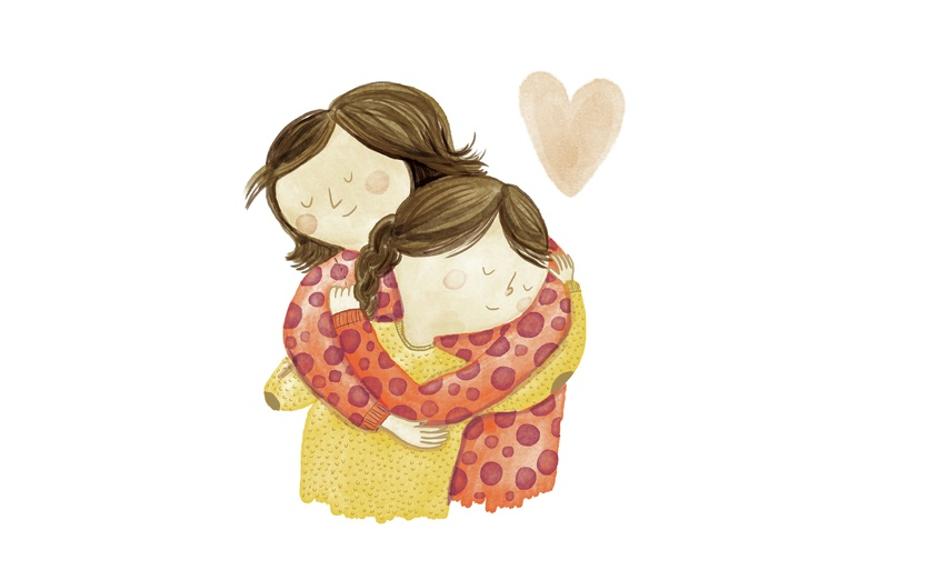 - adorable, affectionate, art, aunt, brown, cartoon, cartoony