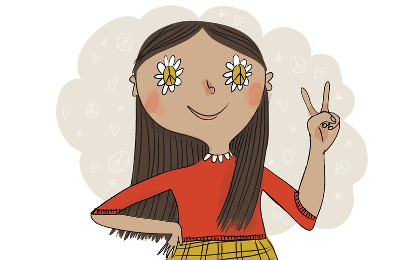 Peace, love and understanding! - cartoon, daisy, flower, flowerchild, flowers, girl, hair