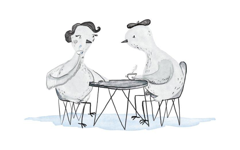 - beret, bird, coffee, date, flirt, french, love