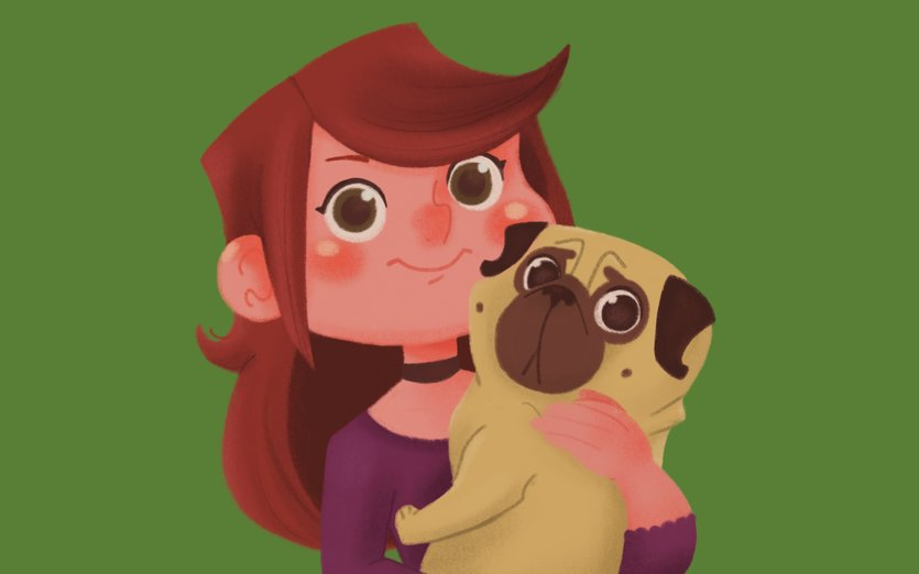 - cute, dog, friend, girl, pug, pugs