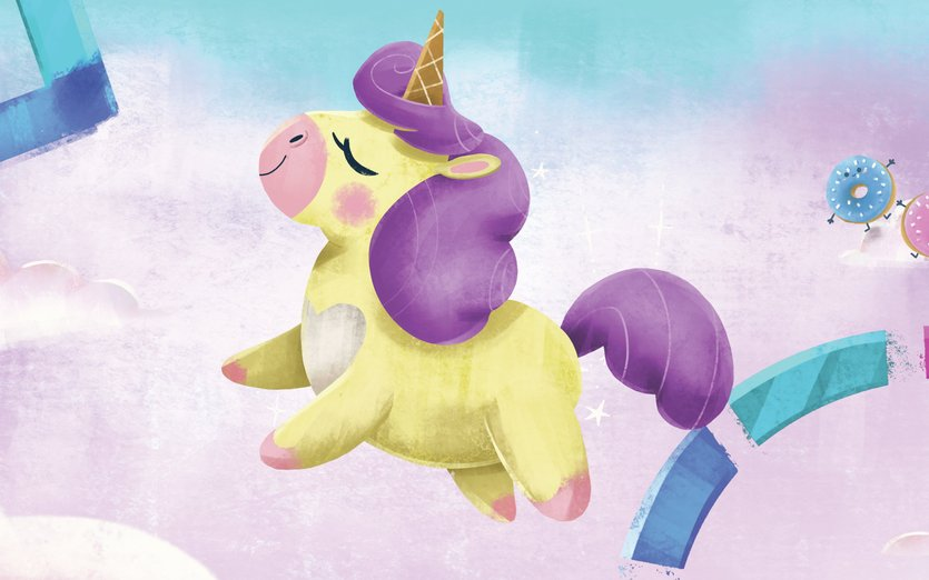 - cloud, cute, donuts, horse, kawaii, pink, puff