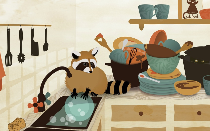 Little Raccoon Washing Dishes By Franzi On Storybird