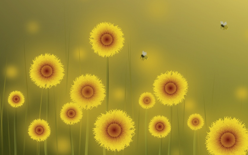 - bees, colored, colorful, colors, detail, digitalart, flora
