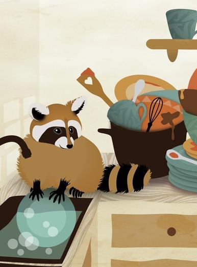 Little raccoon washing dishes