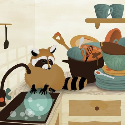 Little raccoon washing dishes