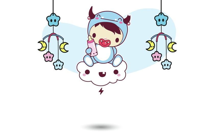 - adorable, baby, blue, brightcolored, brightcolors, cartoon, cartoony