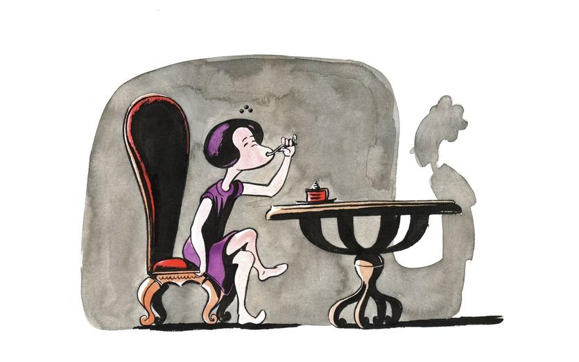 - black, cake, chair, chef, eating, food, girl