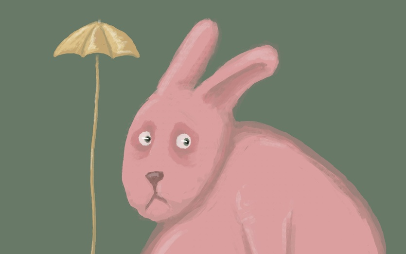 Lets hope it's not gonna rain!  - anxious, bunny, sad, silly, umbrella