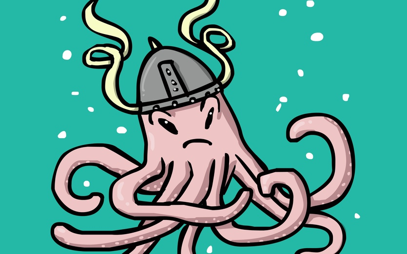 This tough viking octopus is ready for battle, watch out! - bubbles, fighting, helmet, octopus, tentacles, underwater, viking