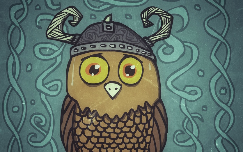 This brave owl isn't quite ready for battle it seems - anxious, brave, celtic, owl, sweating, viking