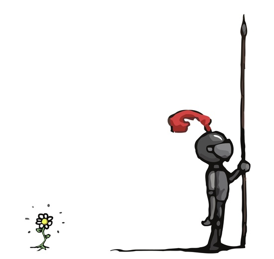 This little guardian is protecting this flower day and night. - adorable, armour, black, brightcolored, brightcolors, cartoon, cartoony