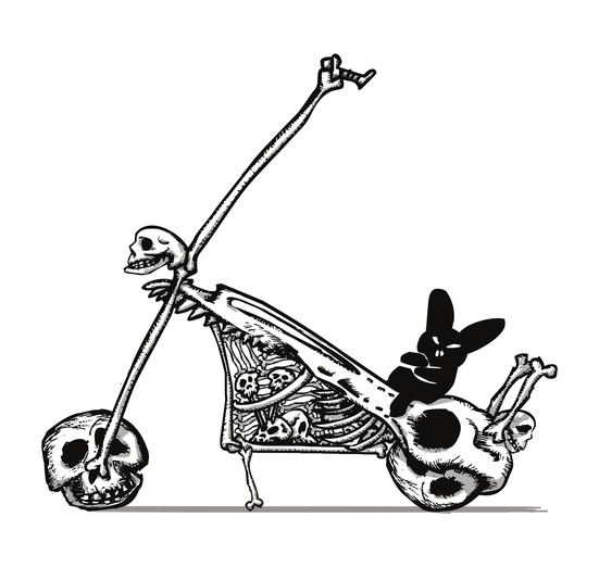 The Black Bunny of Doom is going places thanks to his Skullbike! - animal, bike, black, blackbunnyofdoom, bones, bunny, cartoon