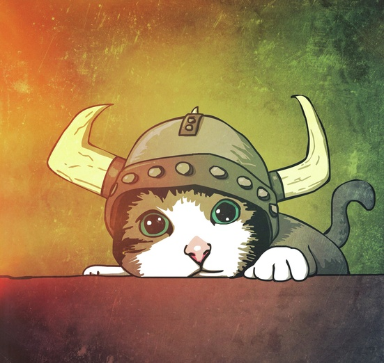 This sweet kittey is almost ready to battle. Almost... - cat, colors, cute, kitten, magical, viking