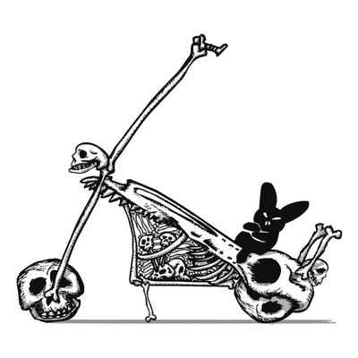The Black Bunny of Doom on his Skullbike
