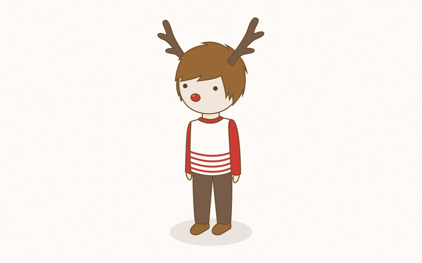 """Then they started singing Rudolph The Red-nosed Reindeer."" - adorable, adorbs, antler, art, black, boy, brown"