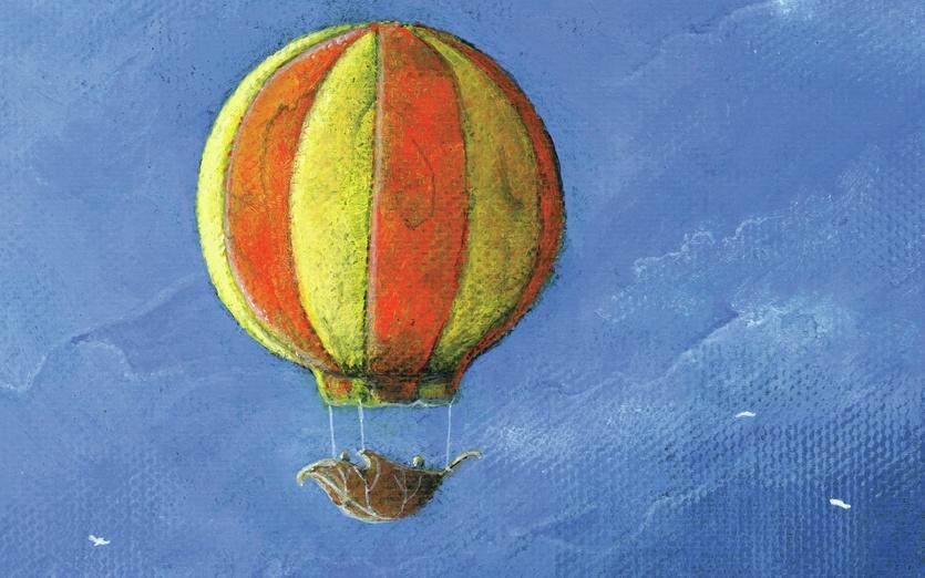 - adventure, alone, balloon, birds, blue, calm, cartoon