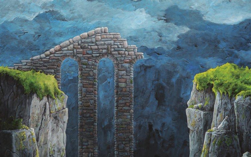 - blue, boulder, bridge, broken, canyon, castle, cliff