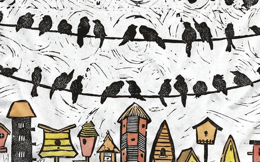 - birds, blackbirds, neighborhood, pattern, printmaking, watercolor