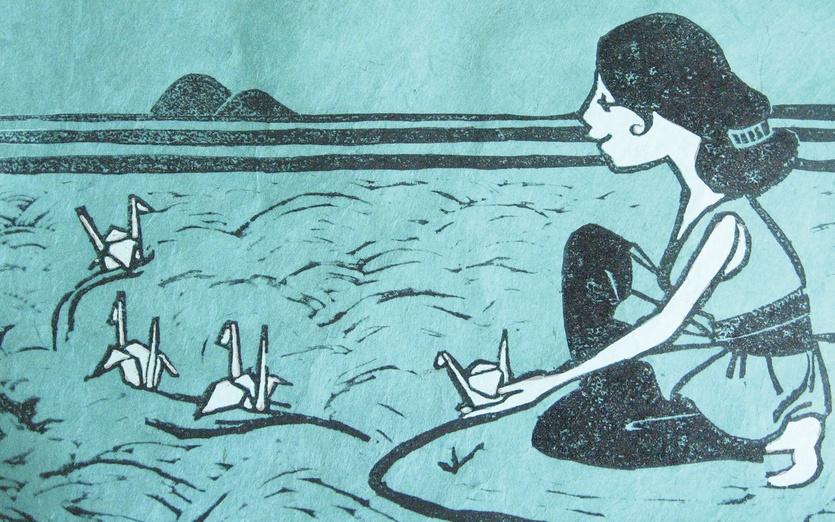 - blue, girl, japan, message, ocean, papercranes