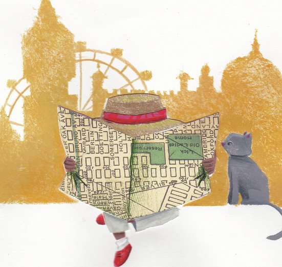 - cat, girl, journey, london, map, travel, vacation