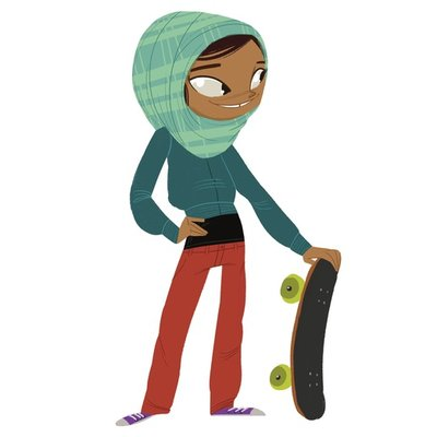 Skater Girl with Head Scarf