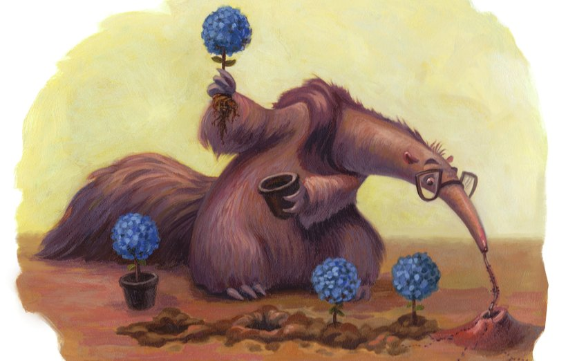 - adorable, animal, anteater, ants, art, blue, brown