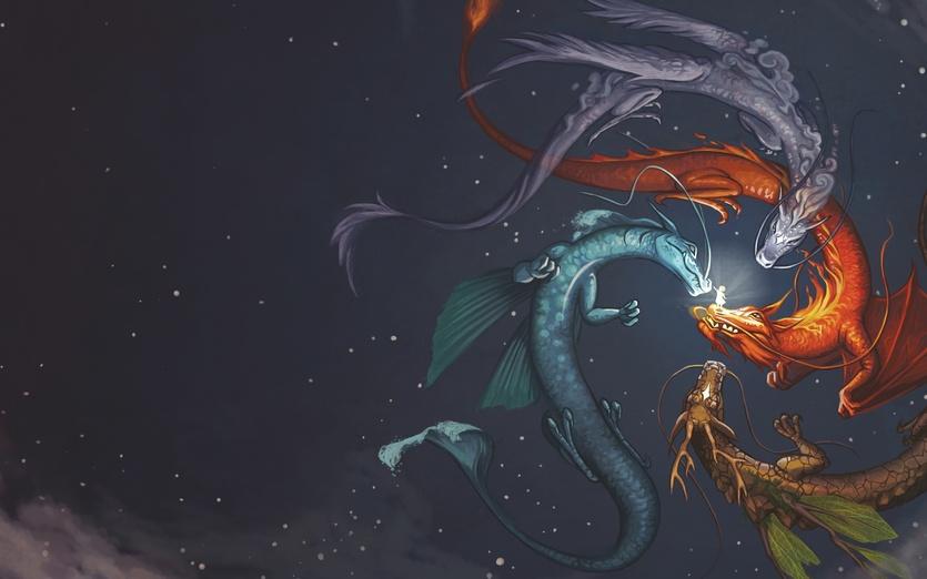 - blue, brown, detailed, digitalart, dragon, dragons, elemental