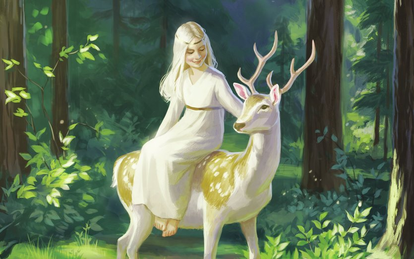 - deer, fairy, fantasy, forest, girl, magic, magical