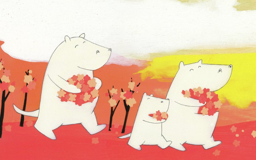 - bears, blossoms, cherry, creatures, funny, kawaii, pink