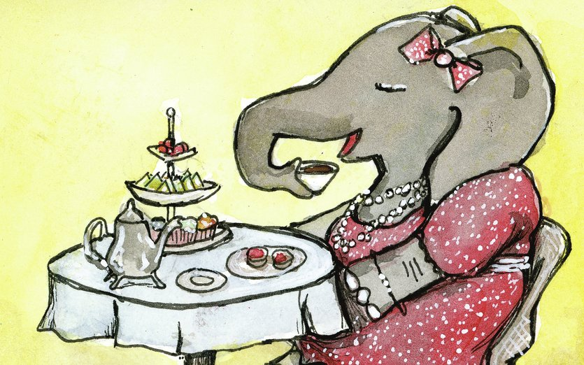 - animal, art, cafe, drawing, drinking, elephant, ink