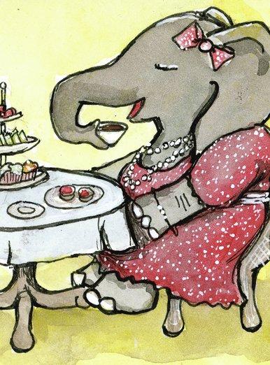 Elephant Lady at Tea