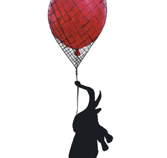 - balloon, drawing, elephant, ink, red