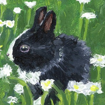 Black Bunny with Flowers