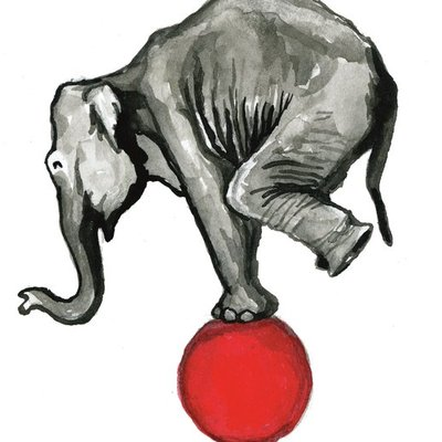 Elephant Balancing on a Red Ball
